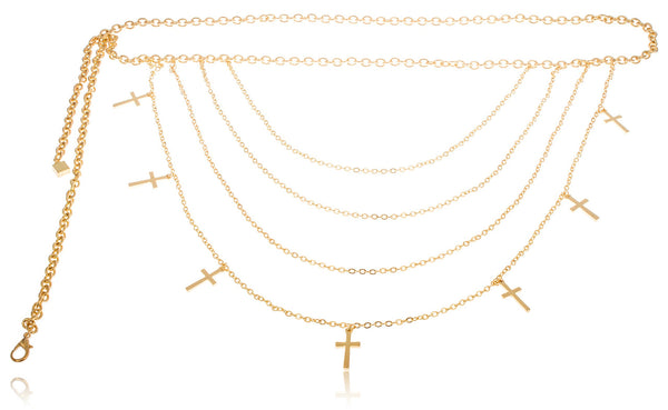 Goldtone Adjustable Length 6 Tier Layered Belt Chain With Dangling Crosses