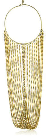 Goldtone Adjustable Length Choker Body Chain With Multiple Dangling Cuban Links