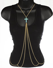 Goldtone Adjustable Length Cuban Links Body Chain With Large Center Cross Charm