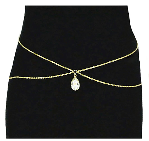 Goldtone Adjustable Length Double Rope Belt Chain With Dangling Pear Pendant