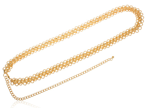 Goldtone Adjustable Length Double Wide Belt Chain