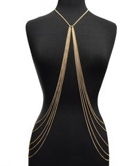 Goldtone Adjustable Length Full Body Chain With Ten Hanging Links