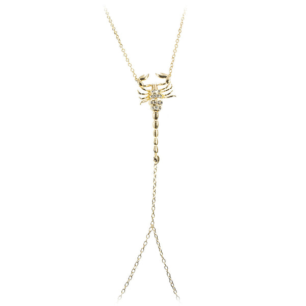 Goldtone Adjustable Length Link Body Chain With Large Center Scorpion Charm