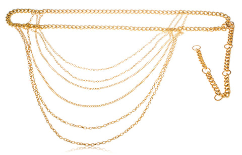 Goldtone Adjustable Length Miami Cuban Link Belt Chain