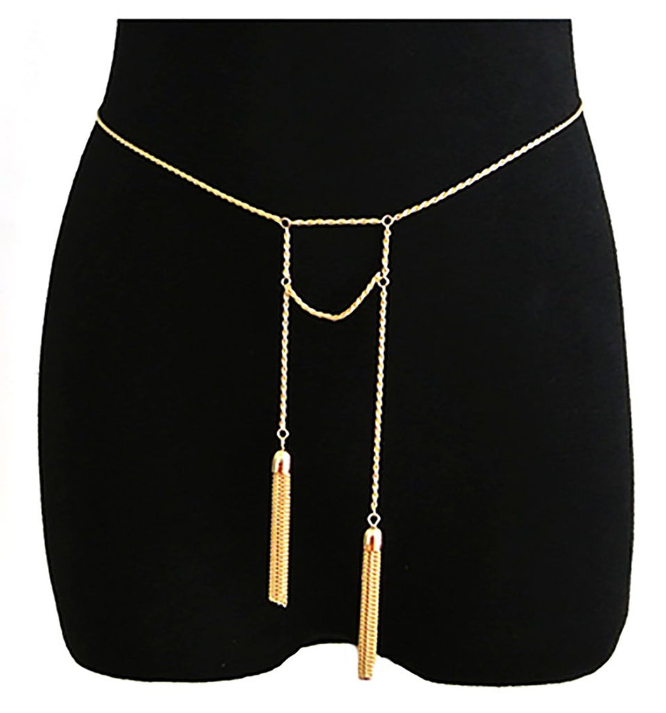 Goldtone Adjustable Length Rope Belt Chain...