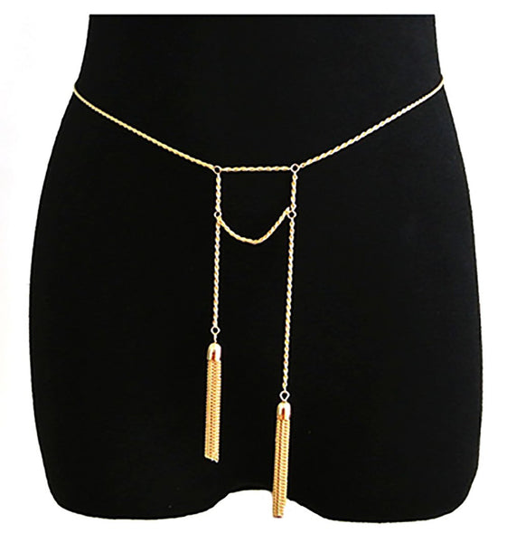 Goldtone Adjustable Length Rope Belt Chain With Dangling Tassels