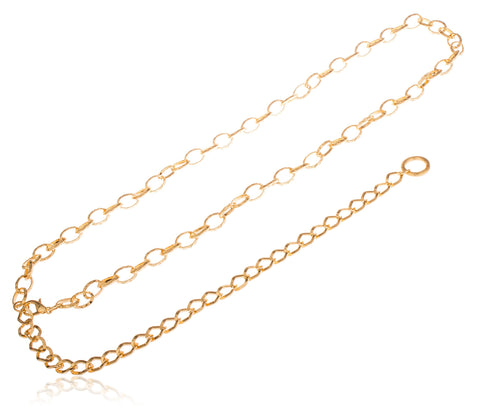 Goldtone Adjustable Length Special Cut Cuban Style Belt Chain