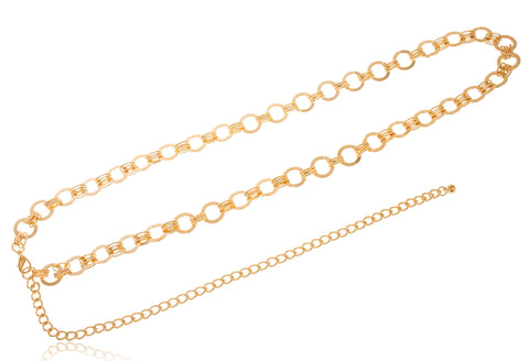 Goldtone Adjustable Length Symmetrical Ring Style Belt Chain
