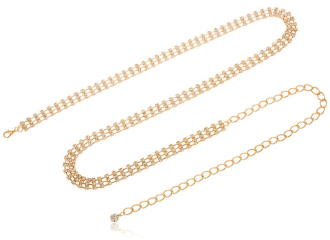 Goldtone Adjustable Length Triple Box Links With Clear Stones Belt Chain