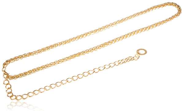 Goldtone Adjustable Length Wheat Style Belt Chain With Links