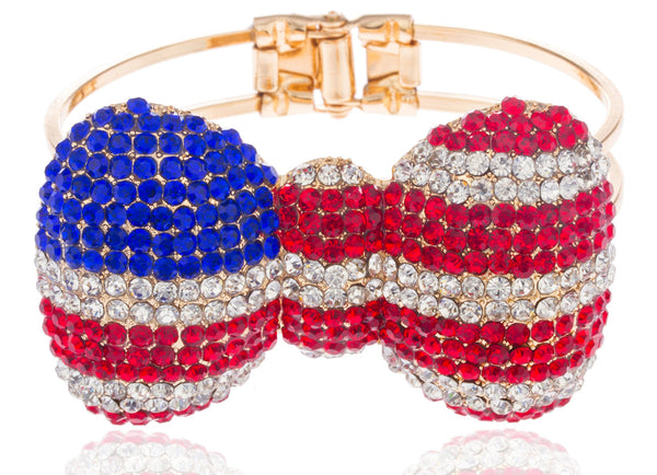 Goldtone American Flag 2.75 Inch Bow Bangle Bracelet