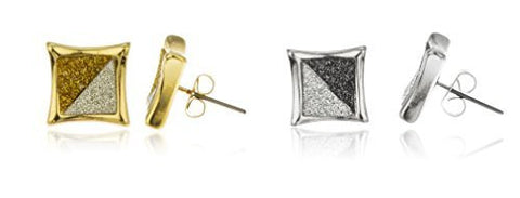 Goldtone And Silvertone Twotone Sandblast 12mm Square Stud Earrings Set