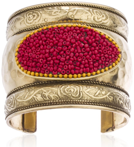 Goldtone Antique Design With Decorative Design And Beads Adjustable Cuff Bangle (Goldtone W/ Red)