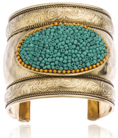 Goldtone Antique Design With Decorative Design And Beads Adjustable Cuff Bangle (Goldtone W/ Turquoise)