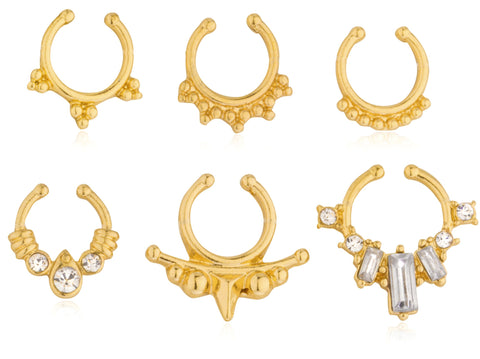 Goldtone Basic Septum Nose Rings Set (No Piercing Required)