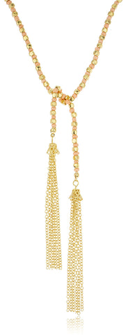 Goldtone Beaded 22 Inch Wrap-around Tassel Necklace - Mint Or Pinktone (Pinktone)