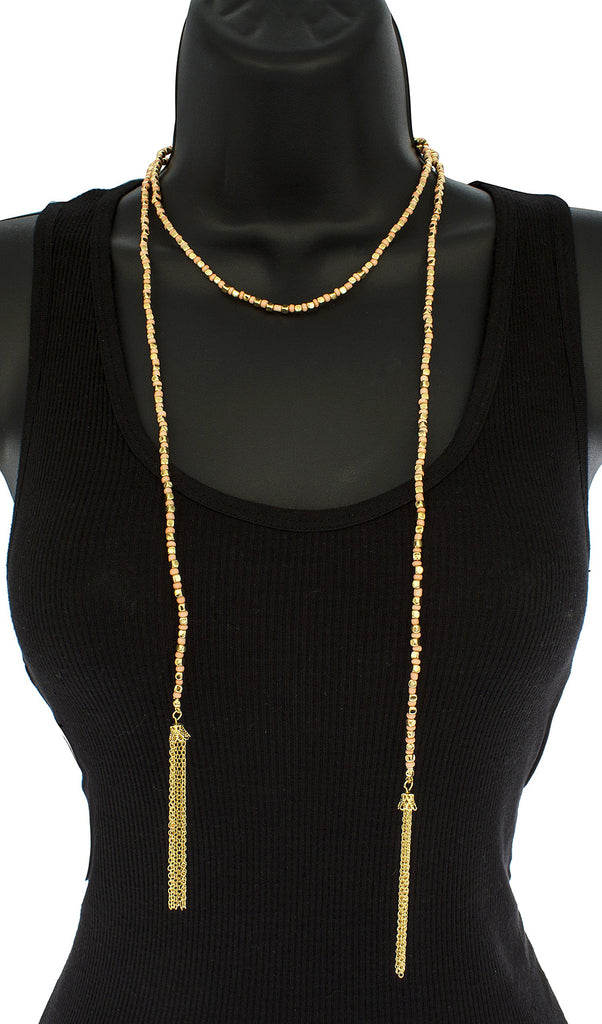 Goldtone Beaded 22 Inch Wrap-around Tassel...