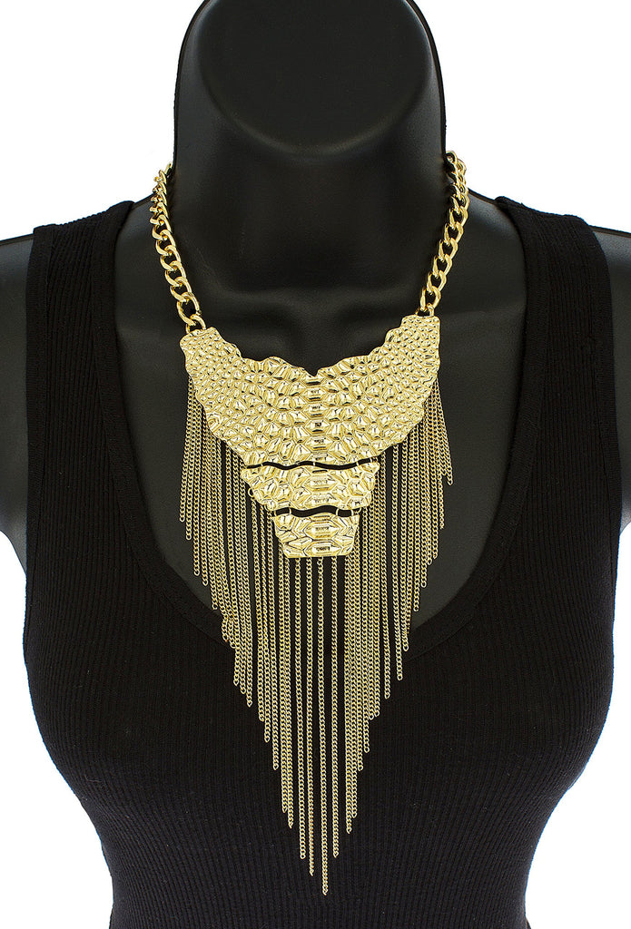 Goldtone Body Pendant With Tassels Link...