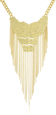 Goldtone Body Pendant With Tassels Link Necklace