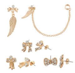 Goldtone Bow Tie And Wings Stud Earrings Set And Ear Cuff