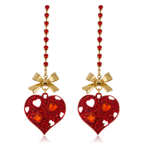 Goldtone Bow With Red Heart Boxed Link Earrings With Stones