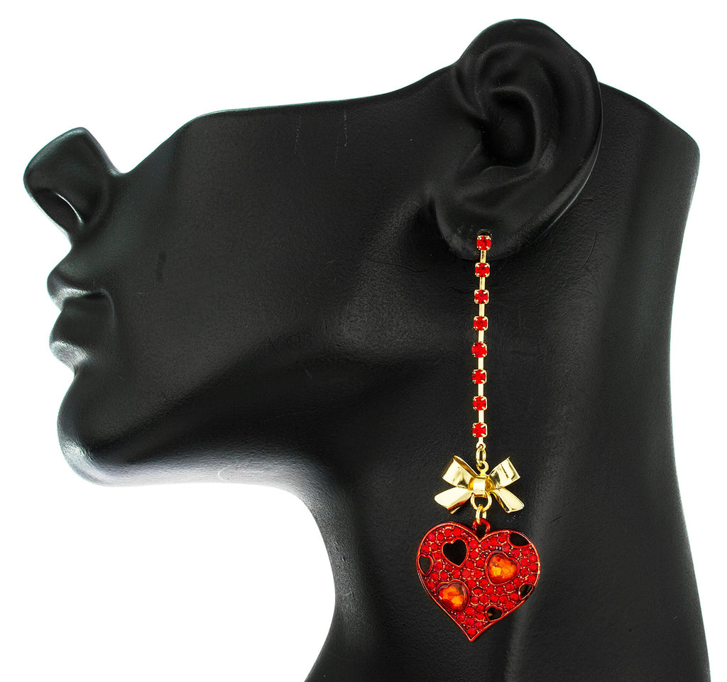 Goldtone Bow With Red Heart Boxed...