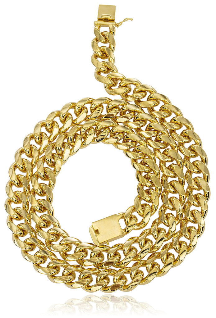 Goldtone Brass 18mm Miami Cuban Chain...