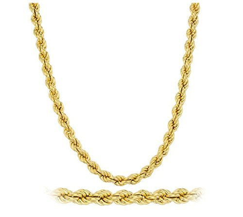 Goldtone Brass 5mm 30 Inch Rope Chain Necklace