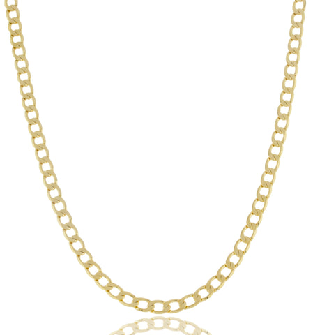 "Goldtone Brass 5mm Flat Cuban Chain Necklace - 20"" And 24"" Available"