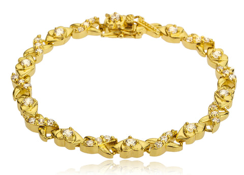 Goldtone Brass 7.5 Inch Xoxo Design Tennis Bracelet With Cz Stones