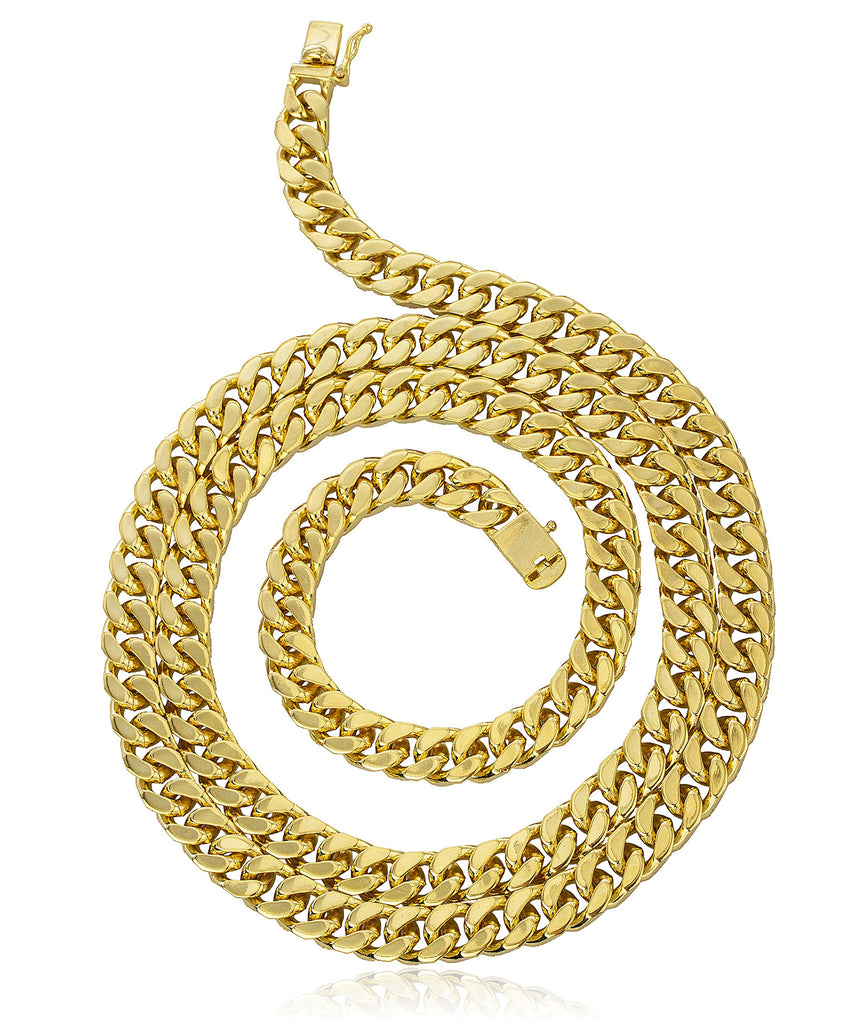Goldtone Brass 9mm Cuban Chain With...