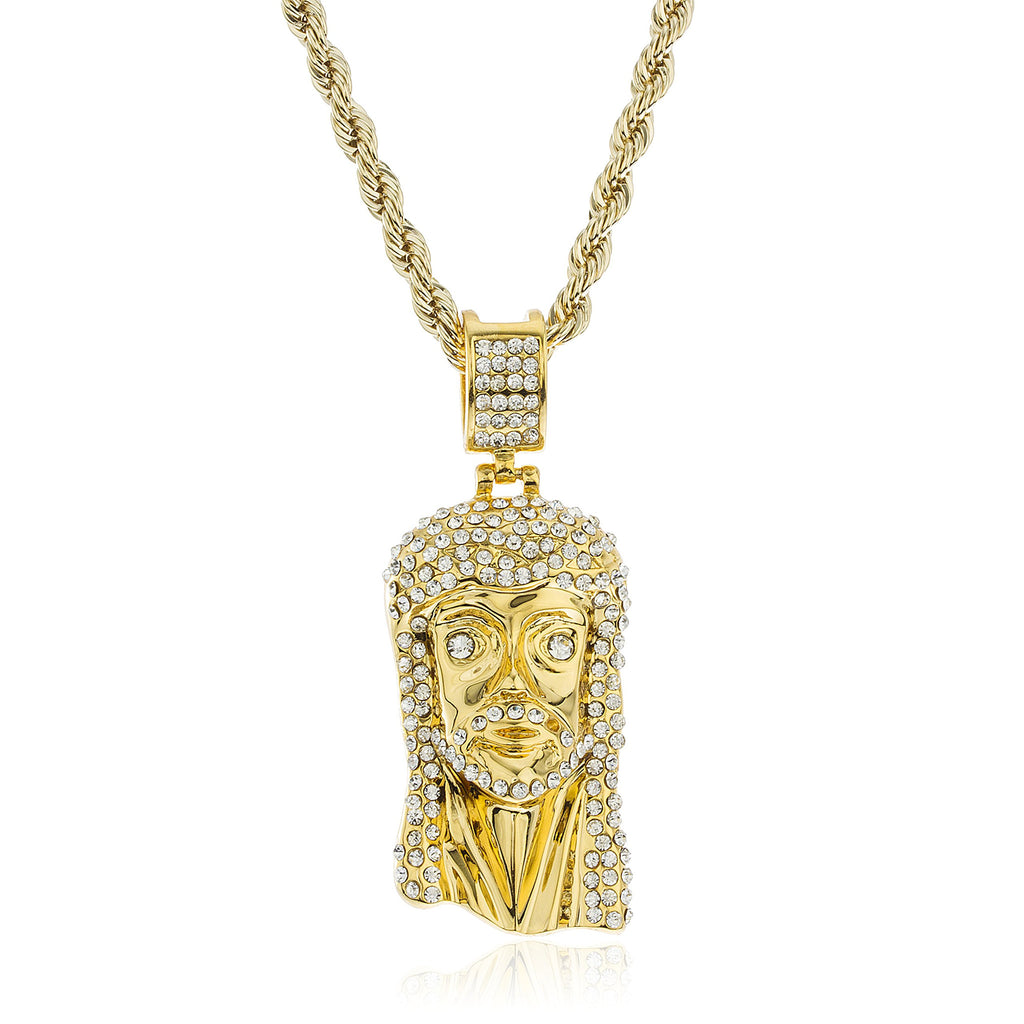 Goldtone Brass Iced Out Jesus Pendant...