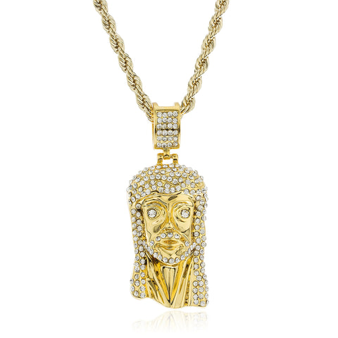 Goldtone Brass Iced Out Jesus Pendant With Cz Stones And A 4mm 24 Inch Rope Chain