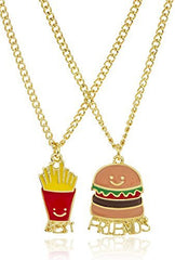 "Goldtone Burger And Fries ""Best Friends"" 18 Inch Adjustable Necklaces"