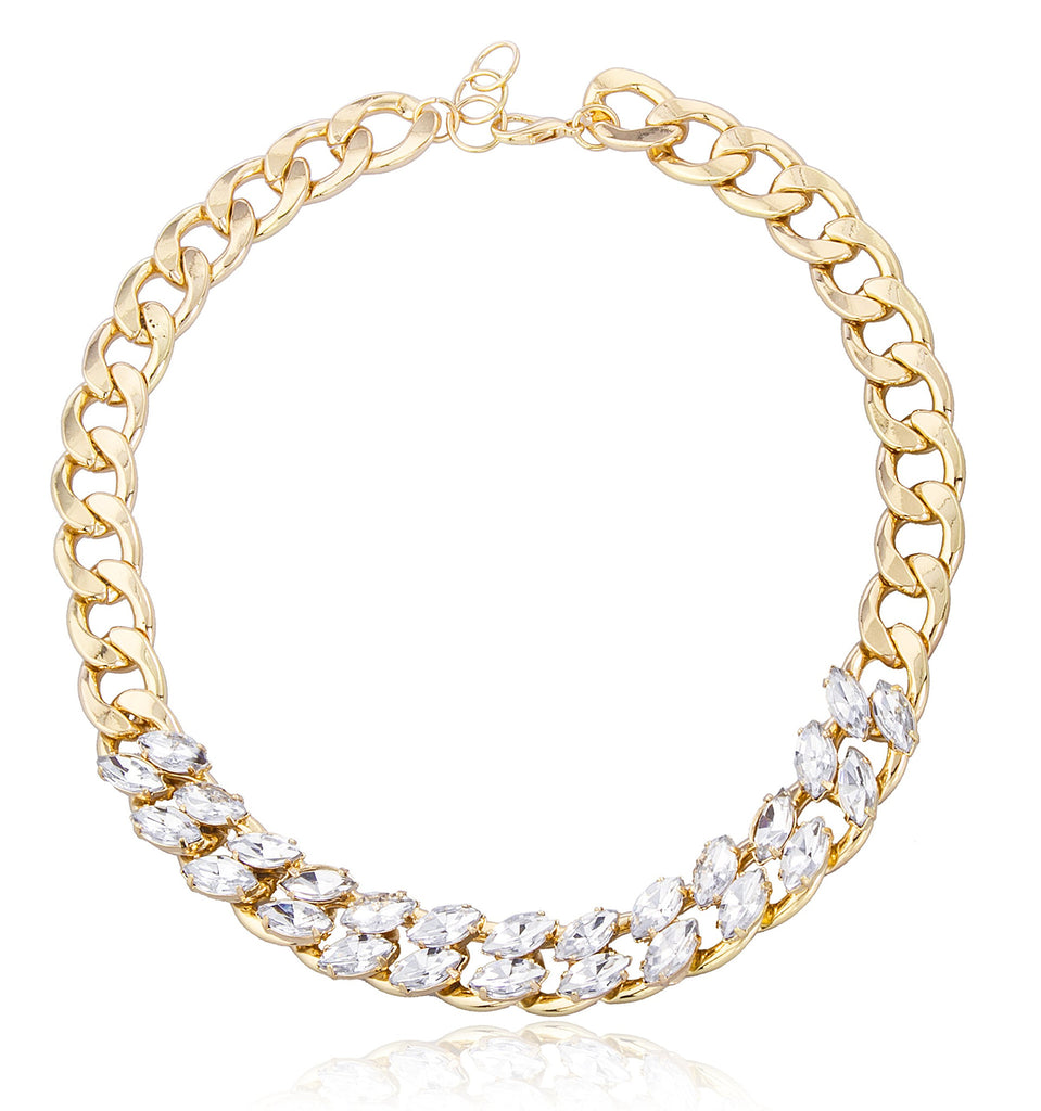 Goldtone Chain Necklace With Clear Stones...