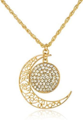 Goldtone Chain With Iced Out Circle & Design Cresent Moon Pendant