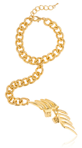 Goldtone Chevron Armor Finger Ring And Slave Hand Chain Bracelet - One Size Fits All