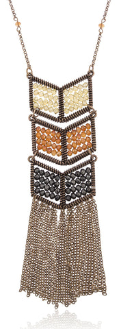 Goldtone Chevron Multicolor Beaded Pendant With Tassels Necklace - Available In Peach And Brown (Brown)