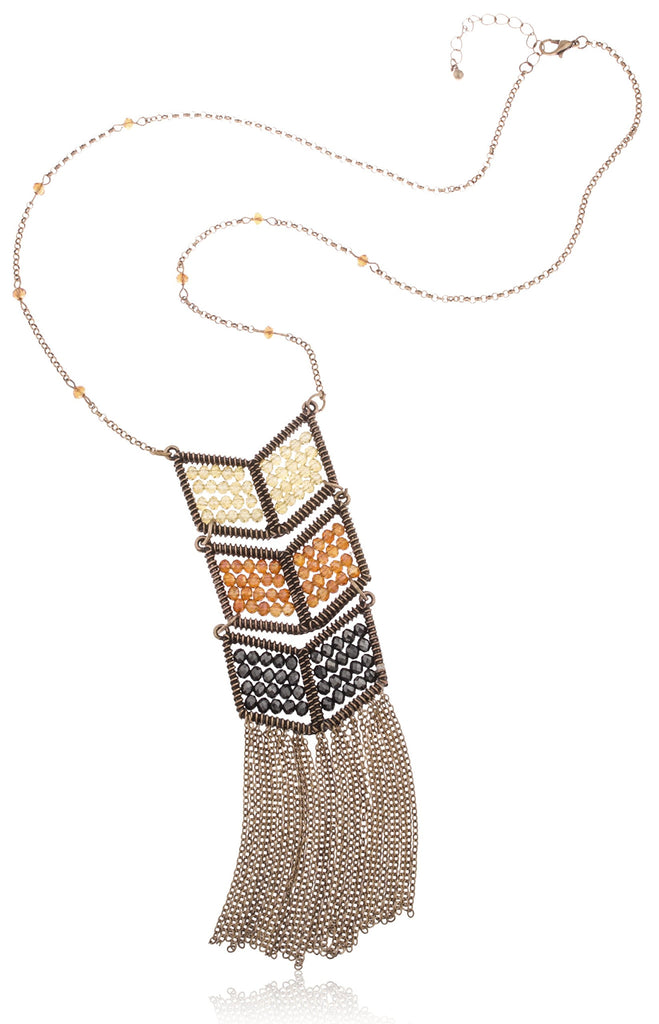 Goldtone Chevron Multicolor Beaded Pendant With...