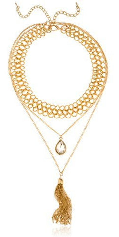 Goldtone Choker Two Layer Necklace With Dangling Pear Shaped Stone & Dangling Tassels