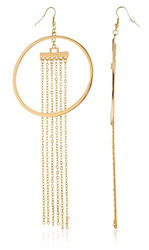 Goldtone Circle Hoops With Dangling Chains...