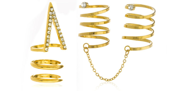 Goldtone Circles And Triangle Two-finger Ring With Chain And Clear Stones - One Size Fits Most