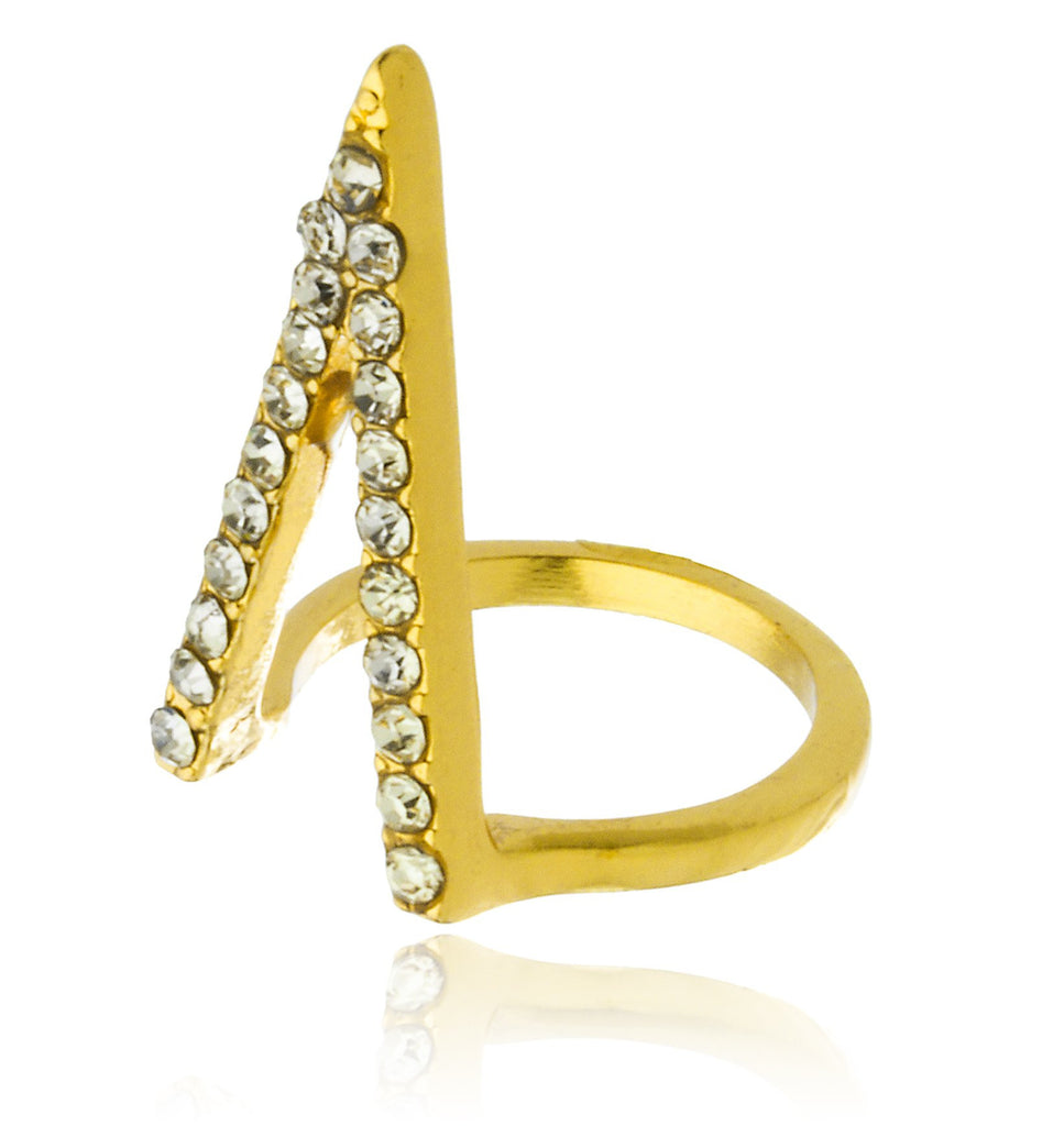 Goldtone Circles And Triangle Two-finger Ring...