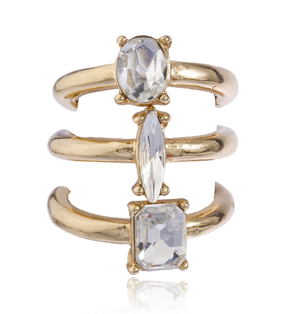 Goldtone Clear Oval, Round, Square 3...