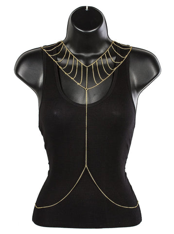 Goldtone Collar Adjustable Body Chain