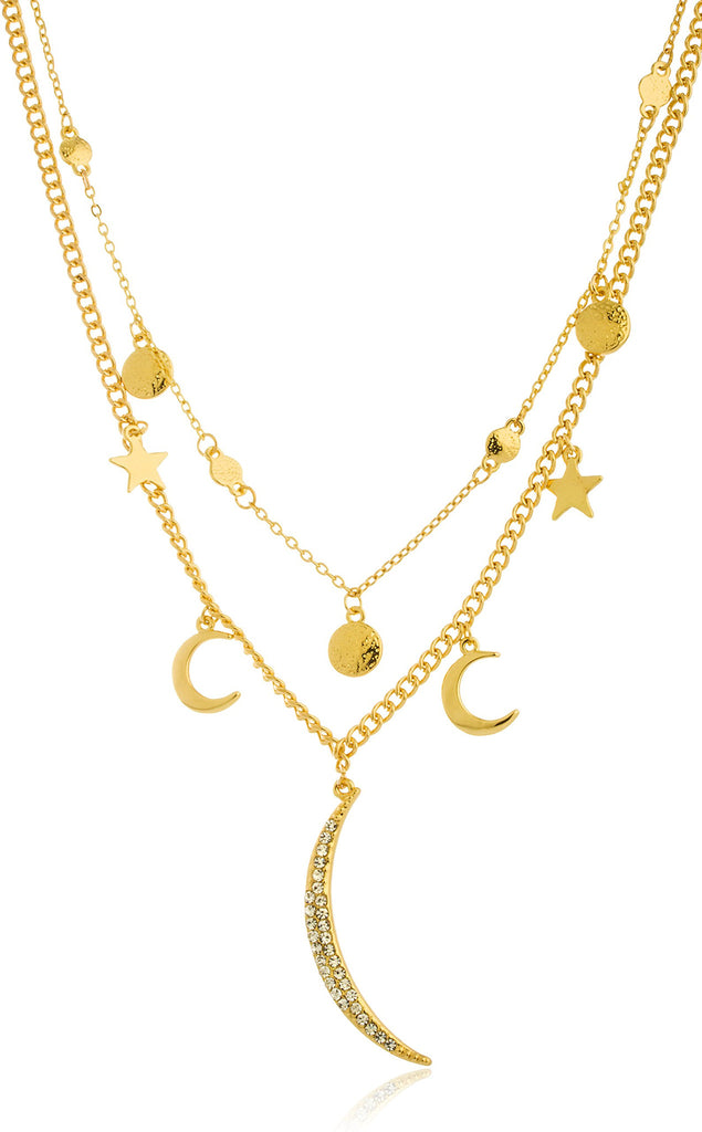 Goldtone Crescent Moon And Stars Charms...