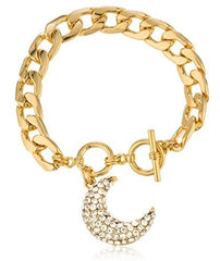 Goldtone Crescent Moon Charm With Stones Toggle Adjustable 8 Inch Bracelet