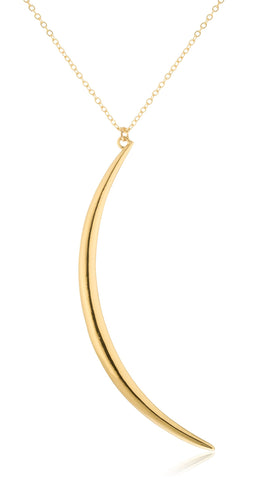 Goldtone Crescent Moon Pendant With 24 Inch Link Necklace And Matching Earrings Jewelry Set