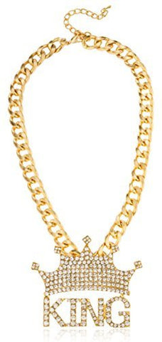 Goldtone 'Crowned King' Pendant With A 18-20 Inch Adjustable Cuban Chain Necklace