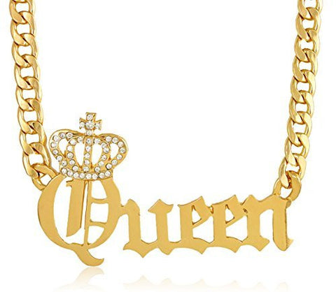 Goldtone Crowned Queen Pendant With A 20 Inch Adjustable Cuban Chain Necklace